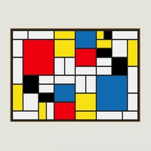 Abstract Handmade Oil Painting Canvas Grid Pictures By Piet Cornelies Mondrian Modern Art On Wall Decoration