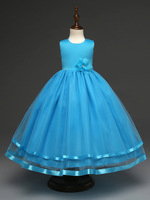 2017 fashion prinses party decoratie flower girls dress beige hot pink blue turquoise purple prom wedding gowns