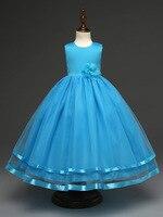 2017 Fashion Prinses Party Decoratie Flower Girls Dress Beige Hot Pink Blue Turquoise Purple Prom Wedding
