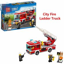 New City Rescue Team Fire Ladder Truck Kit Building BLocks Set Compatible With Lego 60107 educational toys Boys Christmas gift(China)