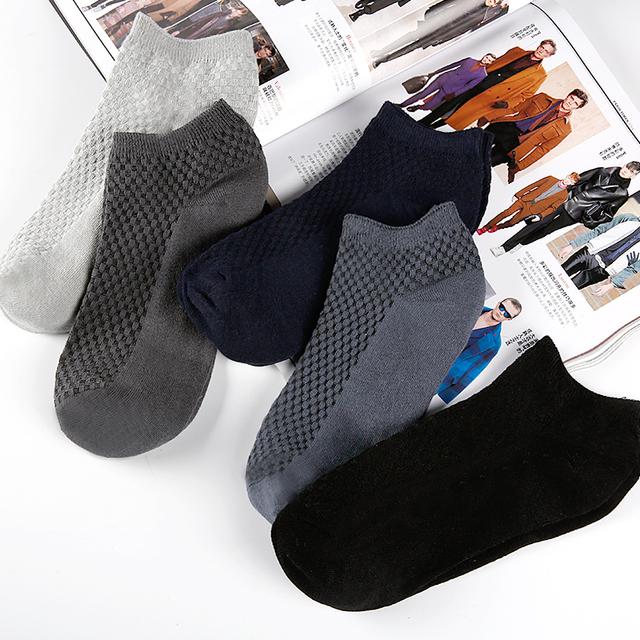 Lot Fashion Casua business Men's Bamboo Fiber & Cotton Socks Invisible Ankle Socks Men Breathable Thin Boat Socks 1pair 5pairs