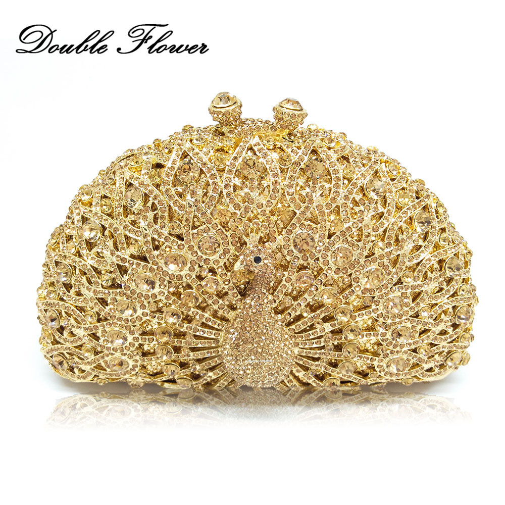 Double Flower Luxury Handbags Women Bag Designer Hollow Out Peacock Crystal Clutch Evening Wedding Party Animal Minaudiere Purse все цены