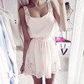 2016 primavera y el verano vestido de gasa diamante correa del arco del color sólido de una sola pieza blanco rosa vestido de mujer dulce de la manera vestidos cortos
