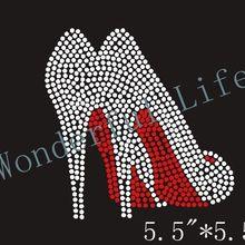 Free shipping 2PCS lot High Heels Fancy Shoes Classy Iron On Rhinestone  Bling Shirt Transfer e744feeee5c8