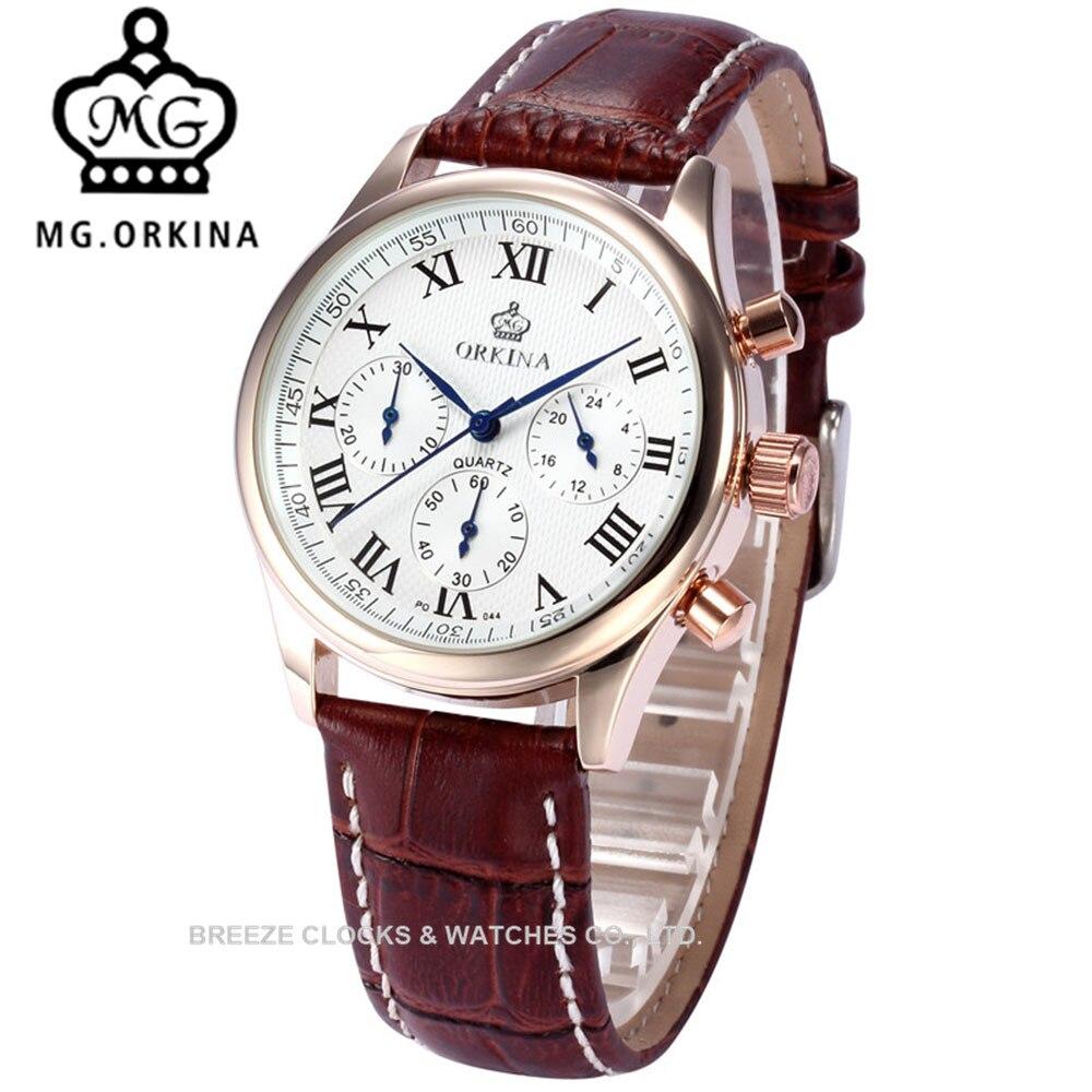 MG. ORKINA 39 MM montres pour femmes bracelet en cuir marron montre à Quartz en chiffre romain bracelet Zegarek Damski cadeaux de noël