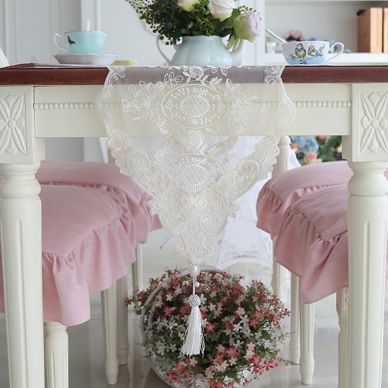 Extra Long Fashion European Romantic Lace Embroidered Tablecloth Coffee Piano Table Runner Mats Cover Cloth Banquet Home Decor