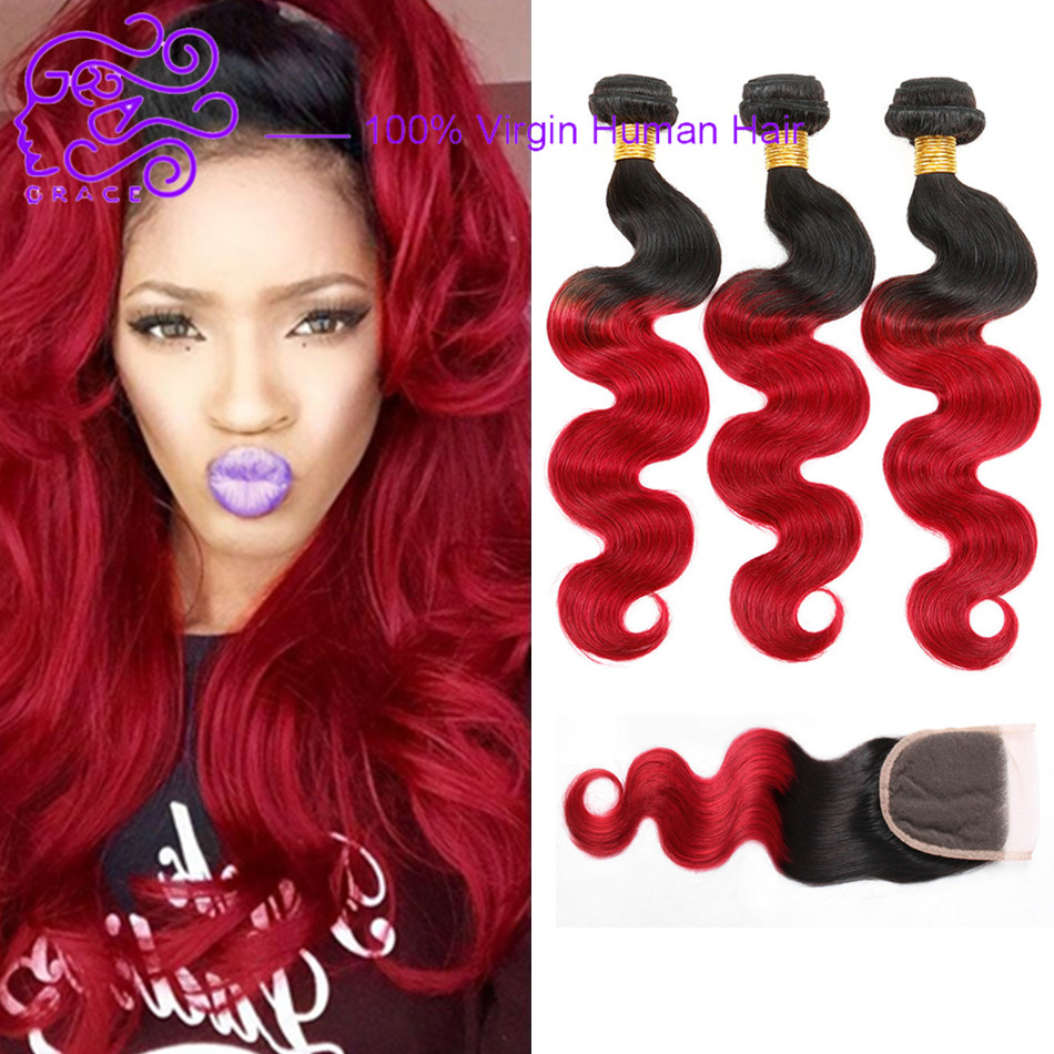 Fashion Red Ombre Brazilian Hair With Closure Two Tone 1b Red Ombre Human Hair Weave 3 Bundles