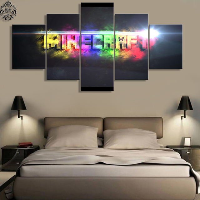Canvas Printed 5 Pieces Minecraft Wall Art Home Decor For Living Room  Painting Pictures Game Poster Canvas Artwork Wall Decor