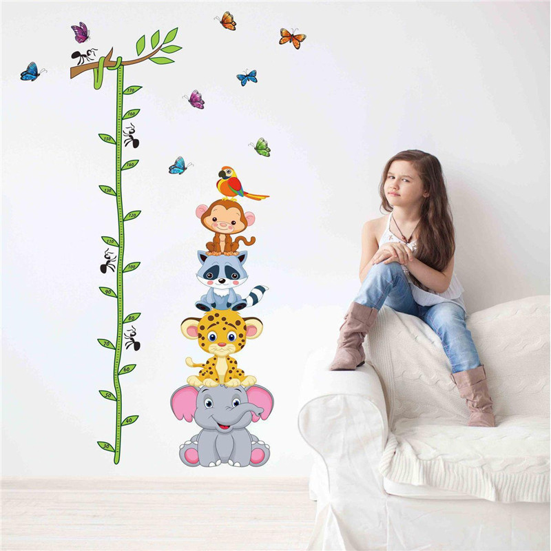 Poster Rushed Home Decor 2015 New Cartoon Measure Height Sticker Wall Stickers For Kids Rooms Growth Chart Ruler Stadiometer