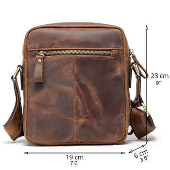 """CONTACT\'S 2019 new genuine leather men\'s messenger bag vintage shoulder bags for 7.9\"""" Ipad mini high quality male crossbody bag"""