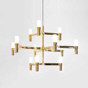 12 головок, современный Лофт, обеденный свет, креативная Золотая вилла, подвесной светильник, художественная свеча, корона, Подвесные светод