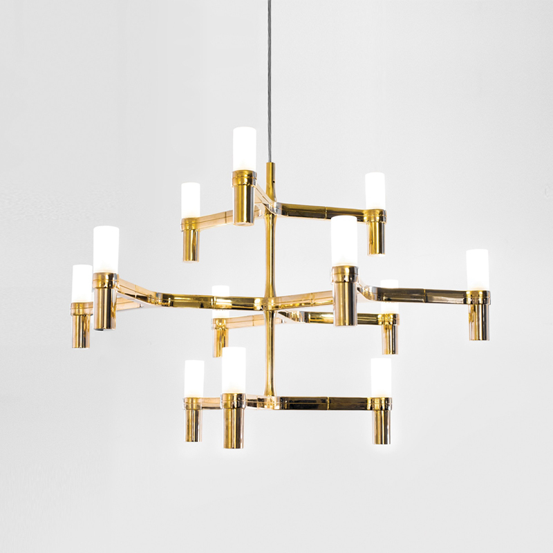 12 Heads Modern Loft Dining Light Creative Gold Villa Pendant Light Art Candle Crown Hanging Led Lights Free Shipping nemo crown nordic postmodern lighting black white chrome gold 30 heads 5 layers aluminum candle pendant light