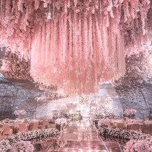 Новое поступление искусственный цветок глицинии лоза шелковая Гортензия ротанг DIY Свадьба День Рождения Вечеринка украшения фон цветы