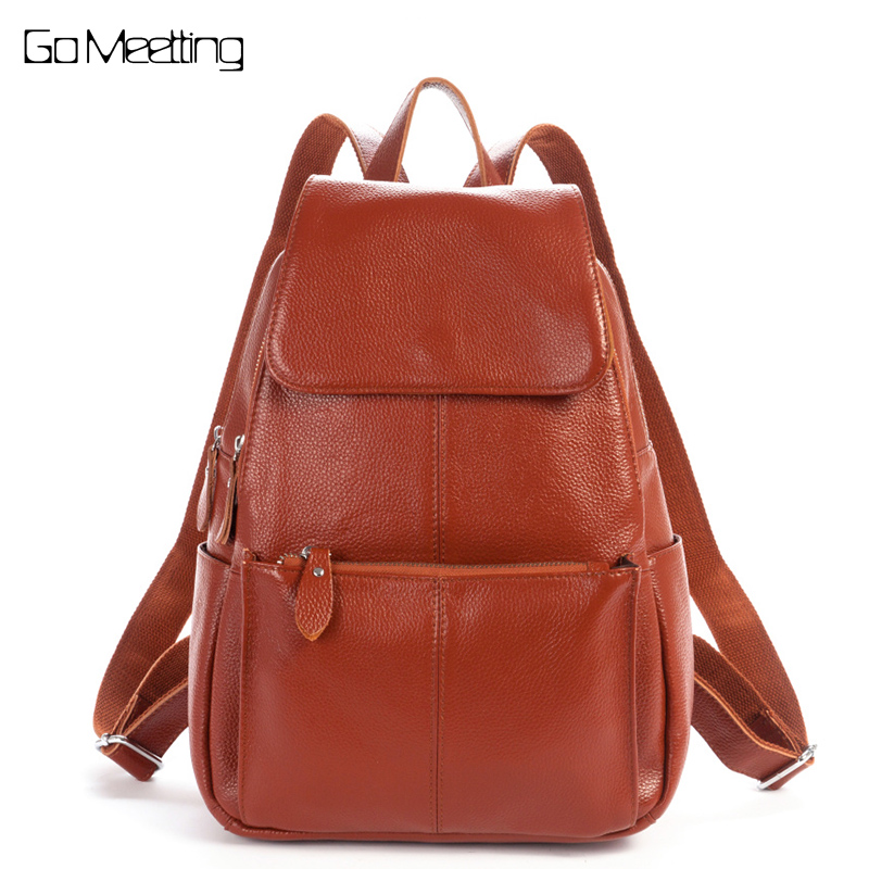 Go Meetting Genuine Leather bolsa feminina Women Backpack Natural Soft Cowhide Women Shoulder School Bag Zipper Travel Backpacks пальто savage пальто в стиле куртки