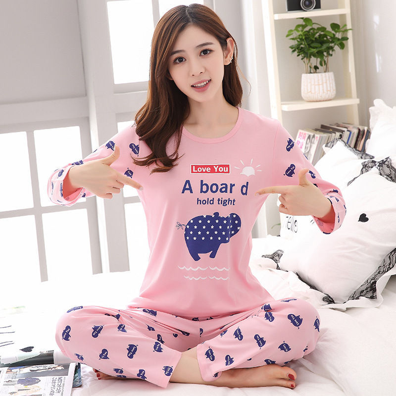 2019 Women Pajamas Sets Autumn Winter New Women Pyjamas Cotton Clothing Long Tops Set Female Pyjamas Sets NightSuit Mother Sleep 108