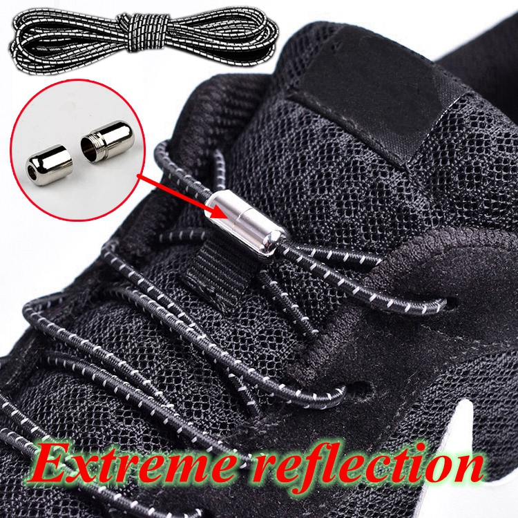 1Pair New Reflective Elastic Shoelaces Metal Tip Shoelace Round No Tie Shoelaces Convenient Quick Lock Laces Unisex Shoe Laces