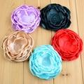 "Free shipping, 22 pcs/lot 3.9"" Large Satin Layered Fabric Flowers , Burned Edges Fabric Flowers"