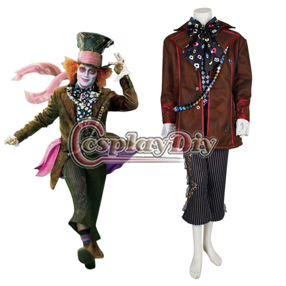 Alice In Wonderland Johnny Depp Mad Hatter Costume Outfit Suit Plus Size Adult Halloween Carnival Costume Cosplay Custom Made