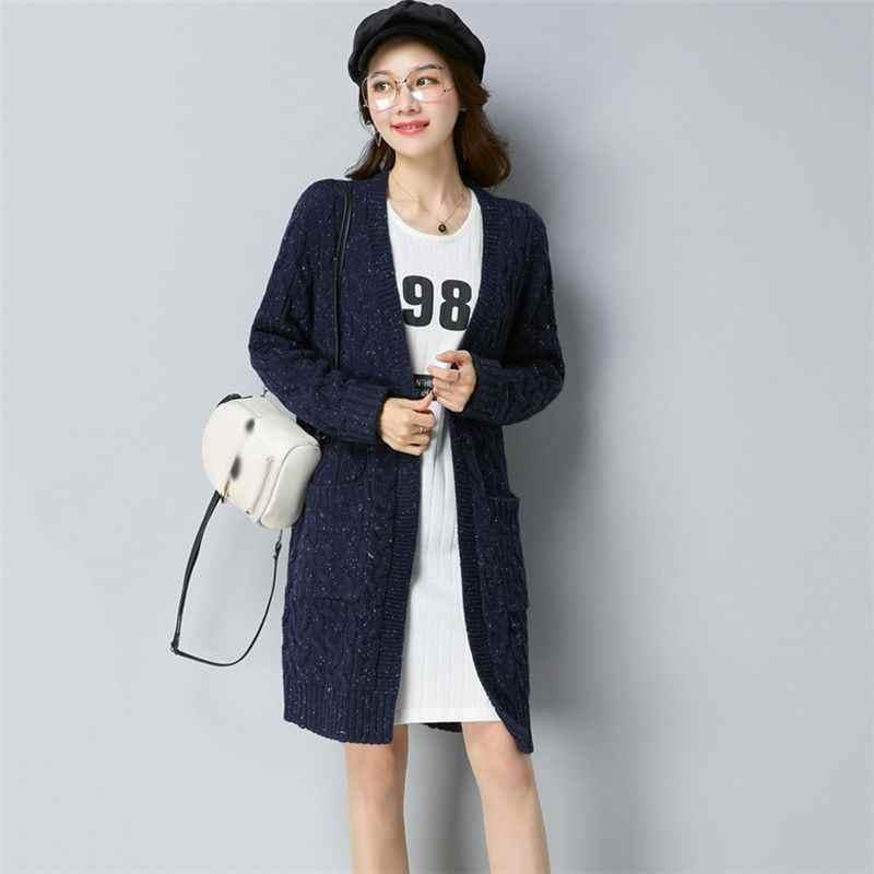 Для женщин Autumn Cashmere плюс Размеры 3XL средней длины Трикотаж женский с длинным рукавом вязаный свитер леди Повседневное свободные пальто-кардиган C62
