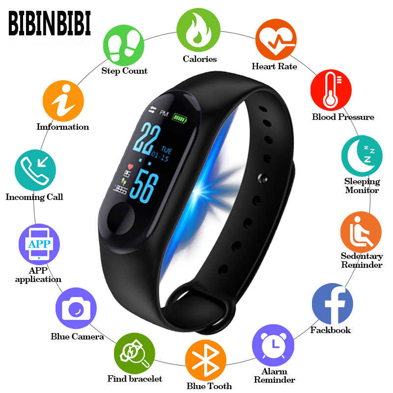 Digital Watch Pria atau Wanita Smart Watch Denyut Jantung Darah Pressuresleep Monitor Pedometer Koneksi Bluetooth Smart Band Gelang