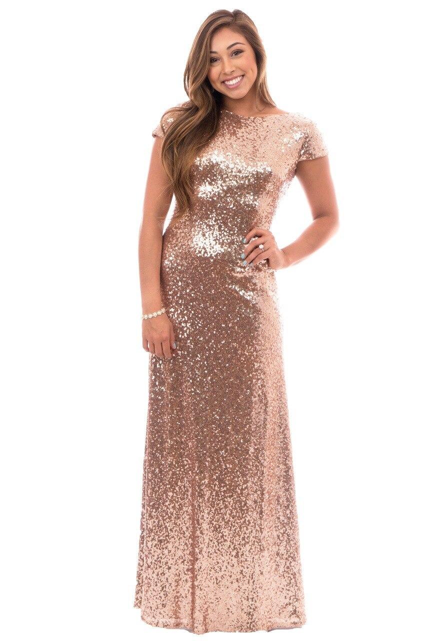 sparkling lentejuelas de oro vestidos de dama de honor larga vestido de honor d