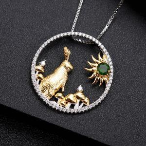 Image 3 - GEMS BALLETT 925 Sterling Silber Handgemachte Kaninchen Pilze Natürliche Chrom Diopsid Anhänger Halskette Für Frauen Sternzeichen Schmuck
