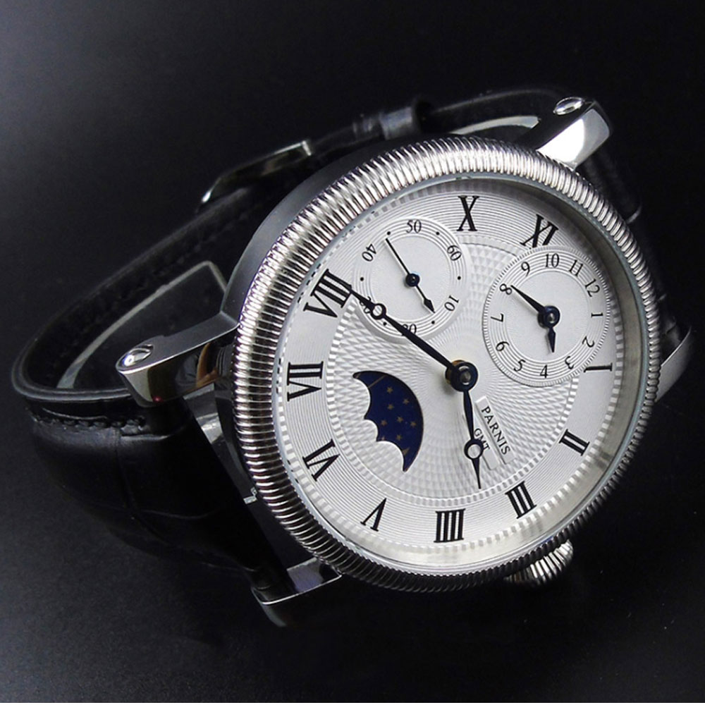 42mm PARNIS Blue Hands GMT Moon Phase hand winding movement men 39 s Watch in Mechanical Watches from Watches