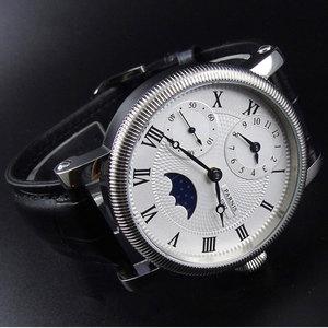 Image 4 - 42mm PARNIS niebieskie dłonie GMT faza księżyca ręczne nakręcanie ruch męski zegarek