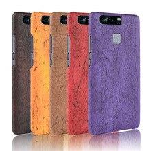 For Huawei P9 P 9 Case Hard PC+PU Leather Retro wood grain Phone Cover Luxury Wood EVA-AL00 5.2