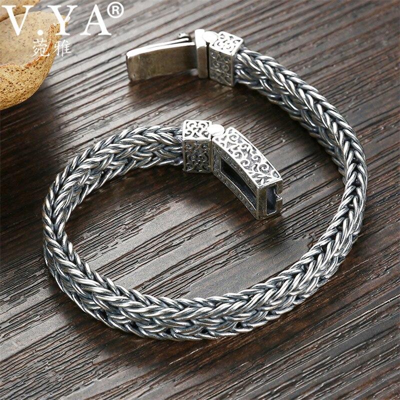 V. YA Handmade ciężki srebrny bransoletka 925 Sterling srebrne bransoletki bransoletki męskie Biker biżuteria bileklik 17 cm 22 cm w Bransoletki łańcuszkowe od Biżuteria i akcesoria na  Grupa 3