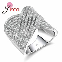 JEXXI Luxury 925 Sterling Silver Wedding Rings For Women Men AAA Cubic Zirconia Engagement Jewelry Gifts