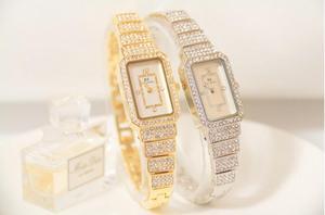 Image 4 - 2019 neue Heiße Frauen Uhr Strass Uhr Dame Diamant Stein Kleid Uhren Edelstahl Armband Armbanduhr dame Platz Uhr