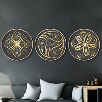 Modern golden Plant flower Round frame living room decorative painting Golden Age Bedroom Study Wall Decoration Mural Painting