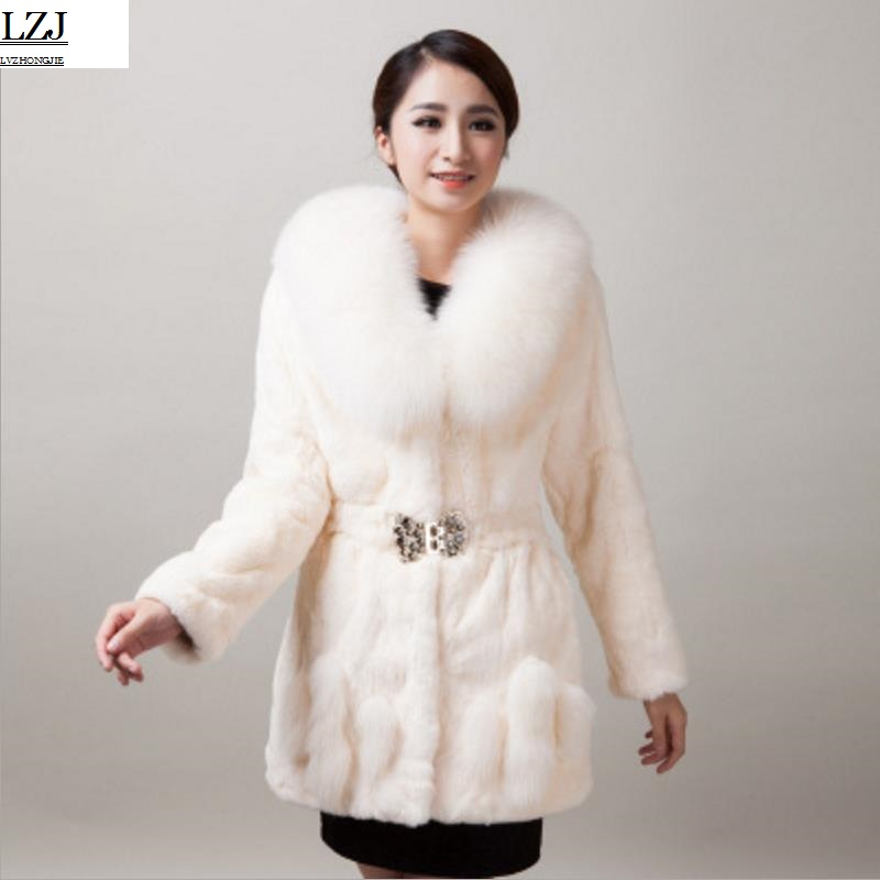 LZJ New high quality 70cm mink jacket leather natural mink coat plus size 5XL women winter long fox fur collar rabbit fur coat