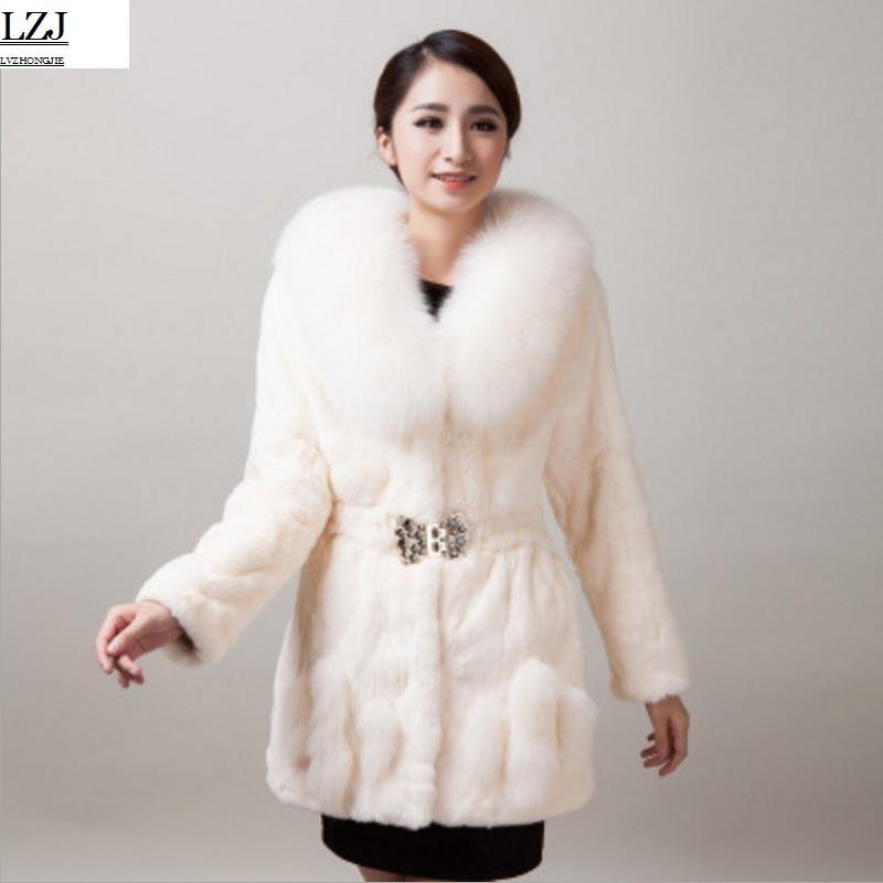 LZJ New high quality 70cm mink jacket leather natural mink coat plus size 5XL women winter long fox fur collar rabbit fur coat