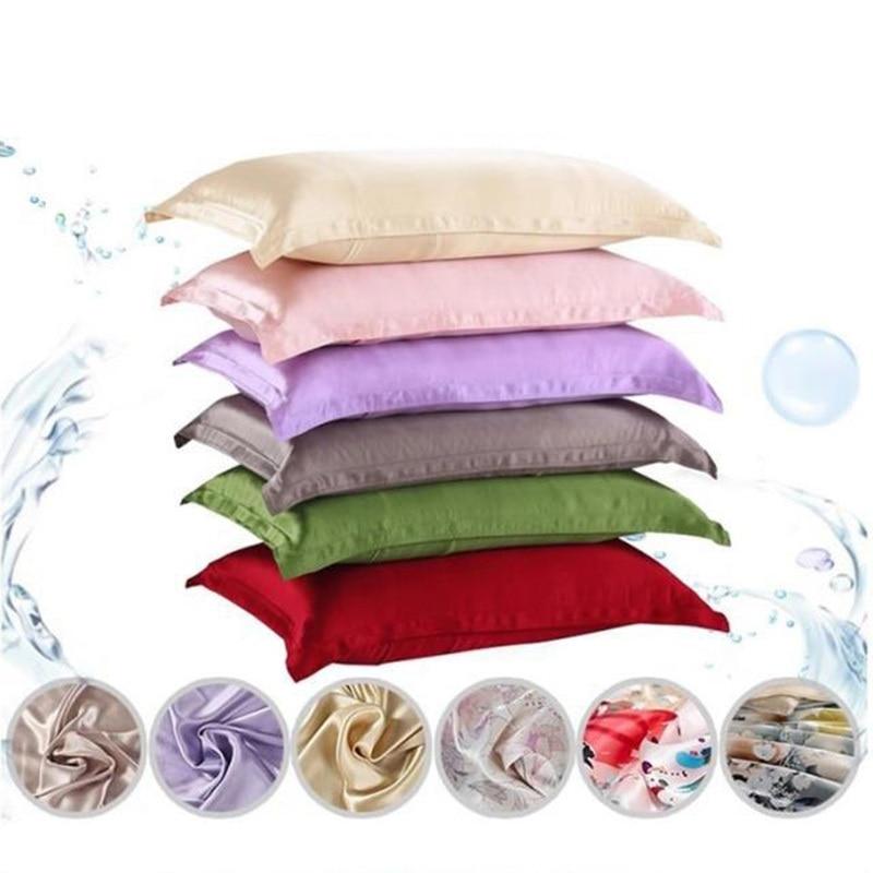 1pc Pure Emulation Silk Satin Pillowcase Single Pillow Cover Multicolor 48*74cm 2