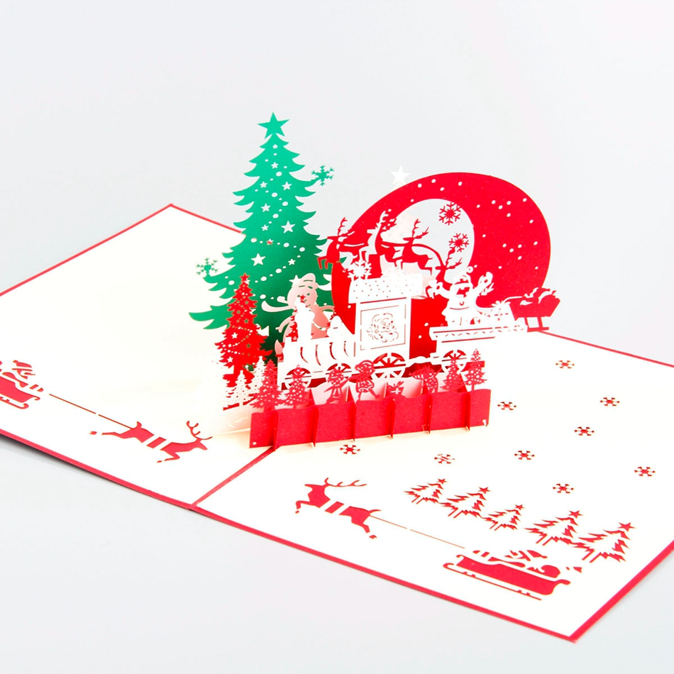 Christmas Eve 3D laser cut pop up paper pop up handmade postcards custom greeting cards gifts for lover party supplies CD090 3pcs flying xmas santa ride greeting cards 3d laser cut pop up paper handmade postcards christmas party gifts supplies souvenirs