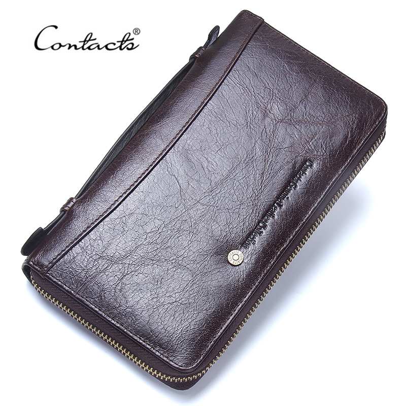 Genuine Leather Men Clutch Wallet  Brand Male Card Holder Long  Zipper Around Travel Purse With Passport Holder 5.7 Phone Case vintage genuine sheepskin leather male men s long wallet purse phone wallets card holder zipper pocket clutch bag bags for men