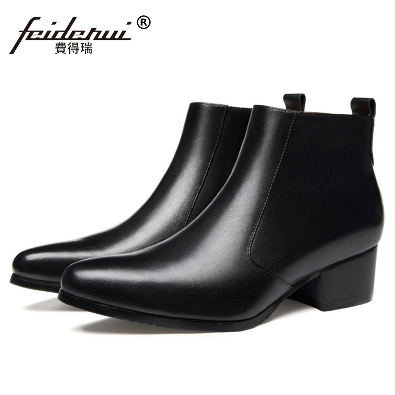 Classic Italian Designer Man High Heels Zip Riding Shoes Genuine Leather Pointed Toe Men's Cowboy Wedding Ankle Boots SS289 spring autumn women shoes ankle martin chelsea boots genuine leather pointed toe thin high heel big size fashion solid zipper