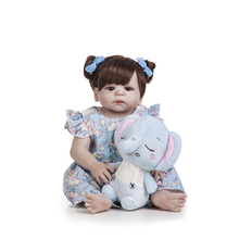 22inch 55cm Latest New  Silicone Boneca Adorable menina Baby Reborn Doll Lovely full vinyl surprise christmas gift kids