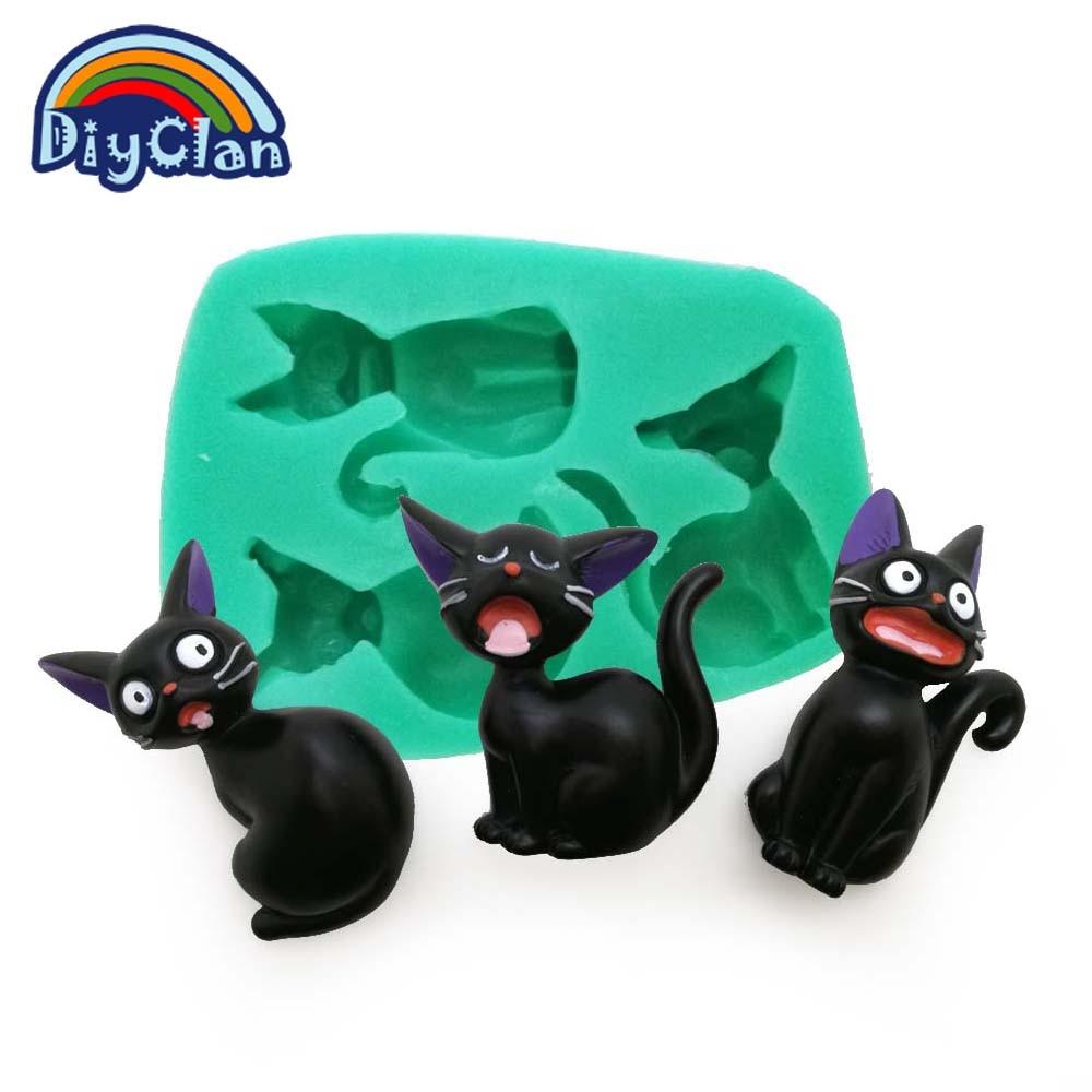 JAUNA Karikatūra stila trīs kaķu silikona veidnes kūka dekorēšanai ar šokolādes ziepju pelējuma rīkiem F0682XM