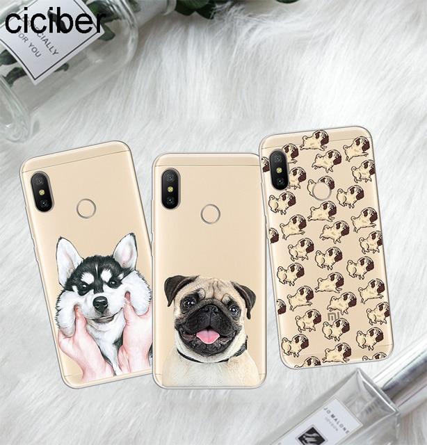 Ciciber Para Xiaomi Vermelho 6 5 4 3 UM X S Plus Pro S2 Macio TPU Casos de Telefone Para Redmi nota 6 5 4 3 X Bonito Pug Dog Capa Fundas Coque