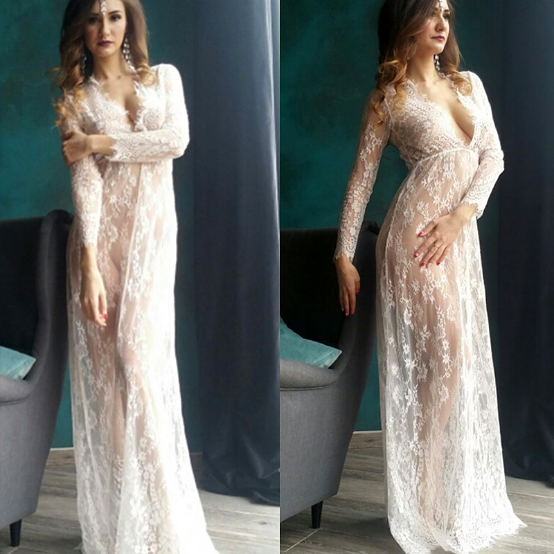 Pregnant Photo Shoot Lace Maternity Dresses Deep V Neck White