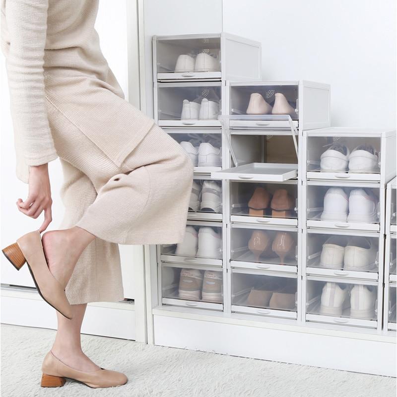 Image 2 - Baffect 3PCS/lot Shoe Boxes Shoe Rack Plastic Stackable Shoebox  Shoe Organizer for High Heels Sneakers Shoes Storage DrawersShoe Racks