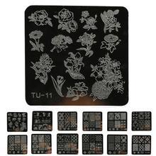 6 * 6 cm pulido plantillas de uñas DIY Nail Art Image Stamp Stamping Placas Manicura Plantilla P30 F35 HW