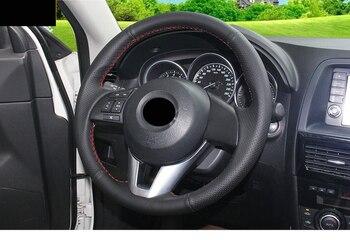 Acessórios de Costura de mão de couro tampa da roda de direcção do carro Para Mazda ATENZA 6 GT 2013 2014 2015