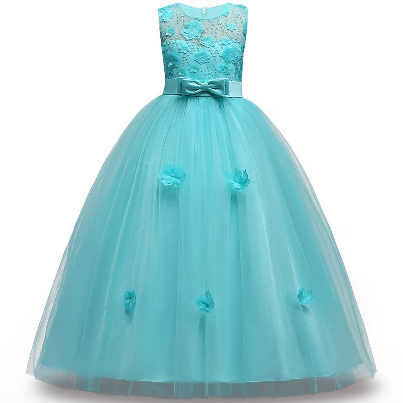 2019 Kids   Girls   2-14 y teens party   dress   elegant Wedding   Flower     Girl     Dress   Sleeveless Princess Pageant Formal long petal   Dress