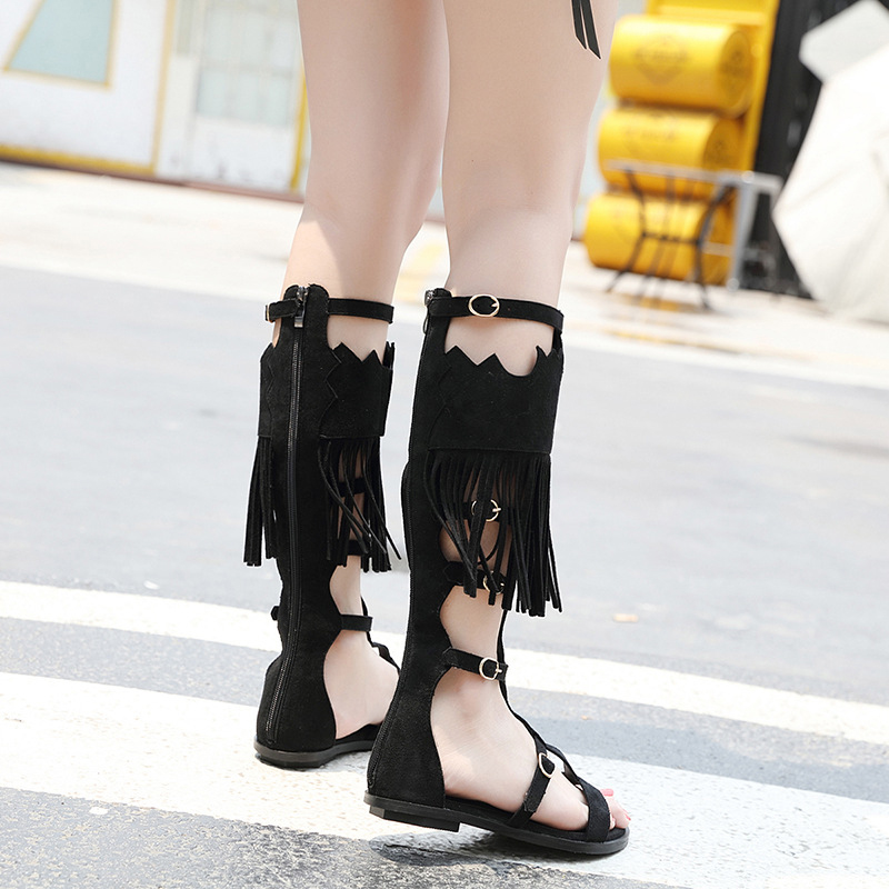 Jookrrix 2018 Fashion Brand Knee High Gladiator Tassel Roman Style Girl Summer Shoes Woman Sandal Lady Flats Sandals Fringe Soft summer tassel sandals fashion rivet gladiator sandals women flats big size hollow shoes woman casual sandal free shipping