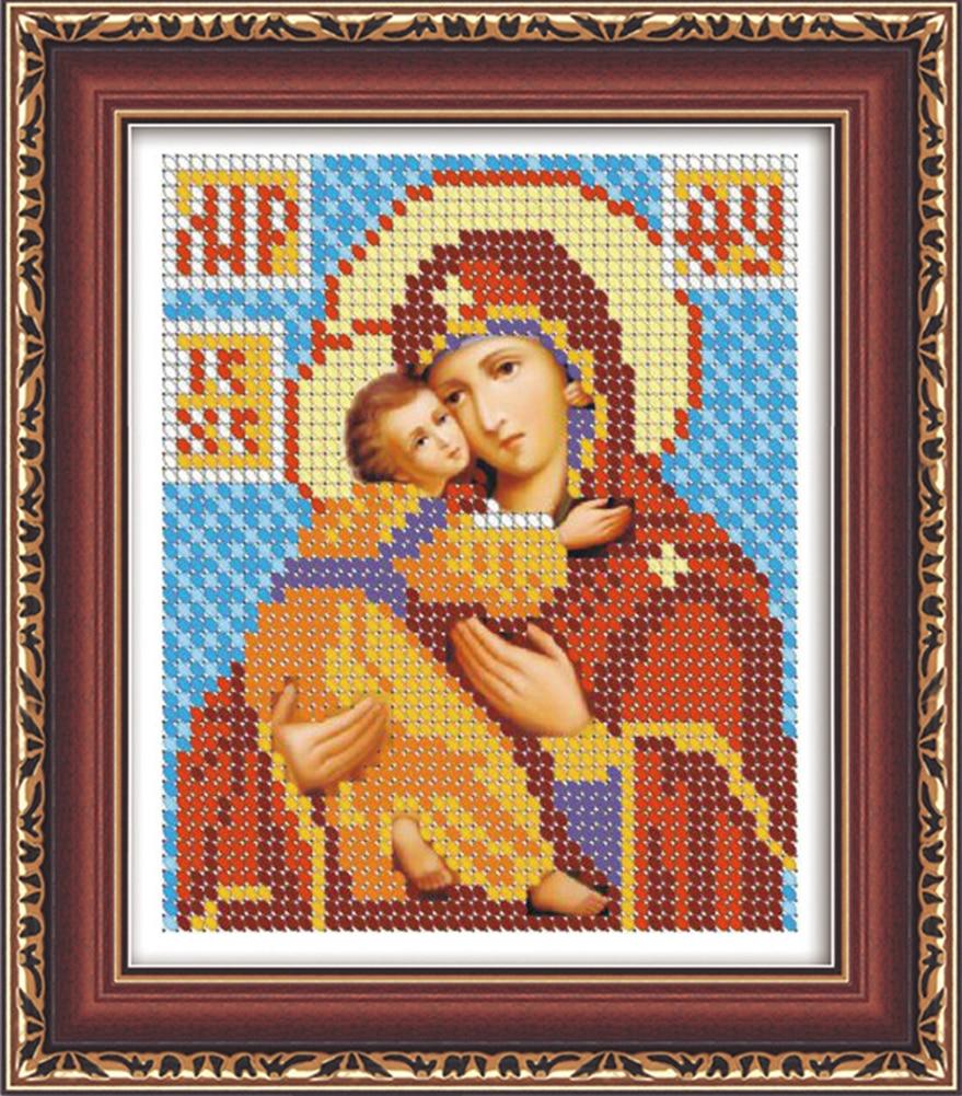 5D Diamond Embroidery Cross Stitch Mosaic Russia Virgin and Child Round Rhinestones Diamond Painting Cross Stitch Kit JR0054