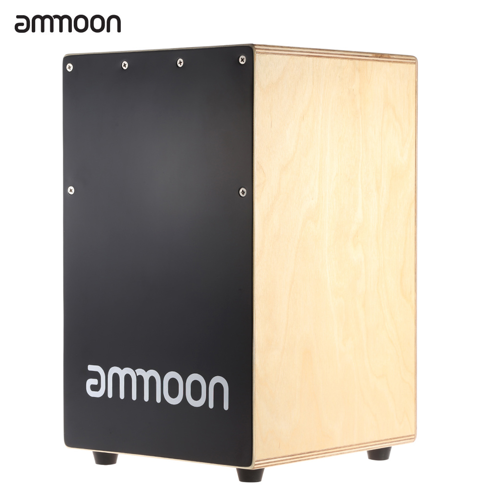 High Quality Ammoon Cajon Hand Drum Children Wooden Box Drum Persussion Instrument With Stings Rubber Feet 23 * 24 * 37cm